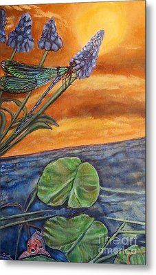 Metal Print featuring the painting Sunset Setting Over A Dragonfly On A Water Lily Pond by Kimberlee Baxter
