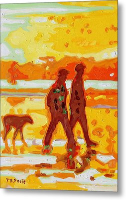 Sunset Silhouette Carmel Beach With Dog Metal Print by Thomas Bertram POOLE
