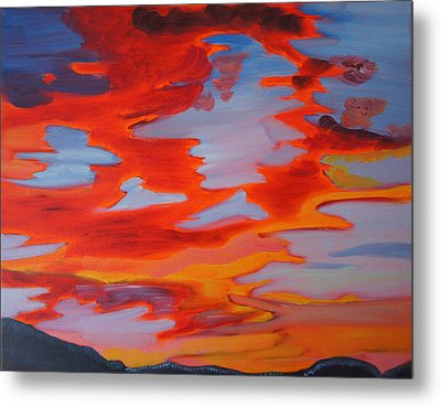 Metal Print featuring the painting Sunset Skies by Meryl Goudey