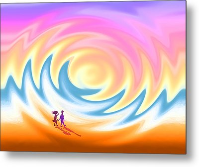 Sunset Stroll On A Windy Beach Metal Print by Ginny Schmidt
