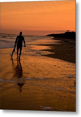 Sunset Surfer Hilton Head Sc Metal Print by Sally Ross