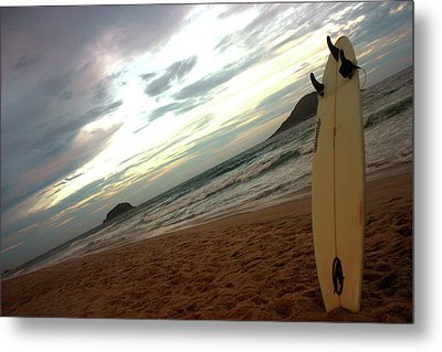 Sunset Surfing  Metal Print by Frederico Borges