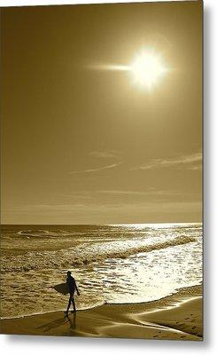 Sunset Surfing Metal Print