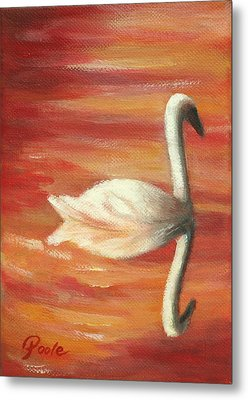 Sunset Swan Metal Print