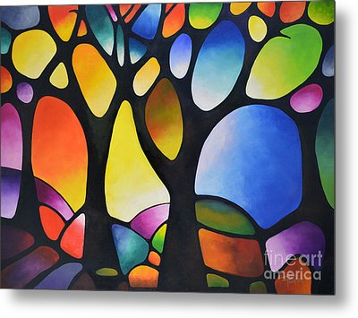 Sunset Trees Metal Print by Sally Trace