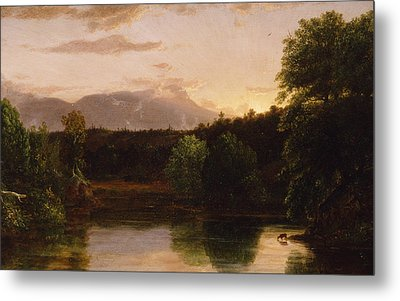 Sunset  View On Catskill Creek Metal Print by Thomas Cole