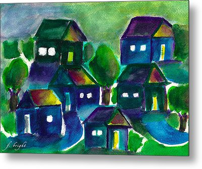 Metal Print featuring the painting Sunset Village Watercolor by Frank Bright