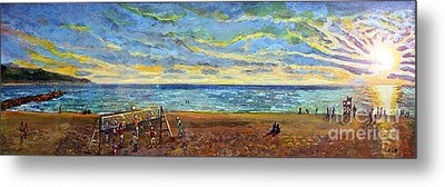 Sunset Volleyball At Old Silver Beach Metal Print by Rita Brown