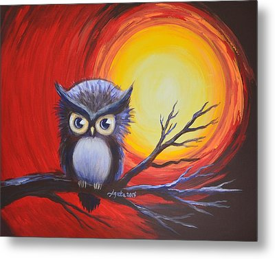 Metal Print featuring the painting Sunset Vortex With Owl by Agata Lindquist