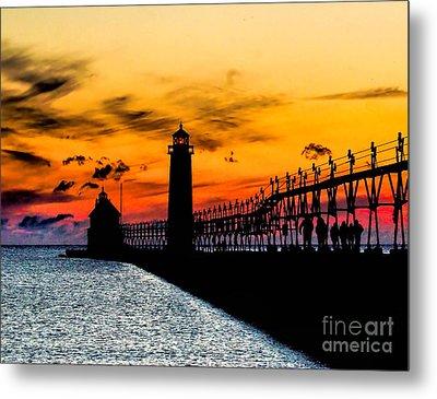Sunset Walking On Grand Haven Pier Metal Print
