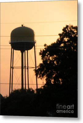 Sunset Water Tower Metal Print by Joseph Baril