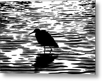 Sunset With A Wading Bird Silhouette Metal Print by Ben and Raisa Gertsberg