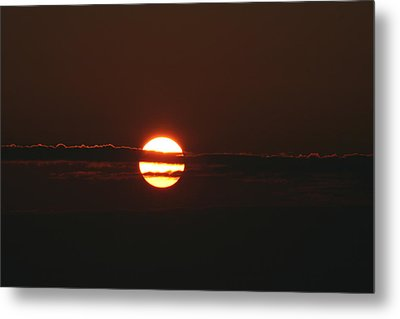Sunset With Cloud Metal Print by Carolyn Reinhart