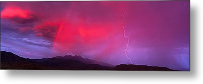 Sunset With Lightning And Rainbow Four Metal Print by Panoramic Images