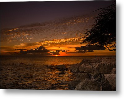 Sunset With The Fisherman Metal Print by Tin Lung Chao