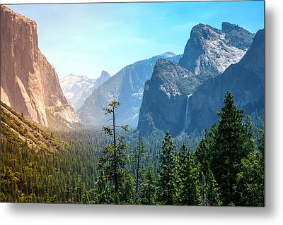Sunset's Golden Light Moves Across Yosemite Valley's Waterfalls Metal Print by Laura Palmer