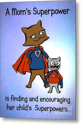 Metal Print featuring the drawing Super Mom And Son by Pet Serrano