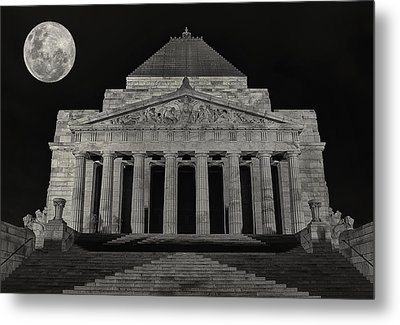 Super Moon Behind Shrine Of Remembrance  Metal Print