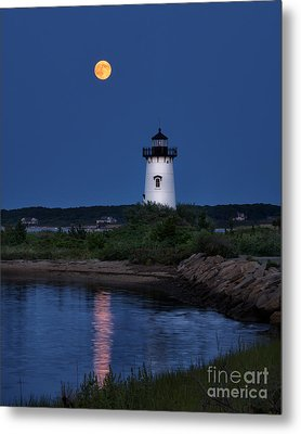 Super Moon Over Edgartown Lighthouse Metal Print by Mark Miller
