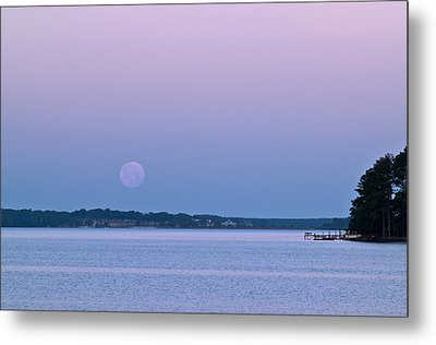 Super Moon Setting-1 Metal Print by Charles Hite