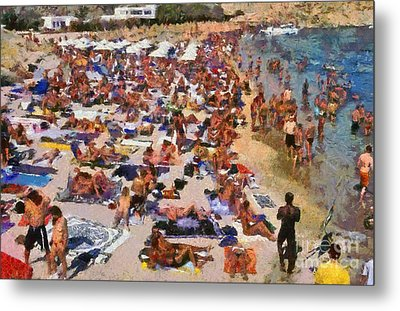 Super Paradise Beach In Mykonos Island Metal Print by George Atsametakis