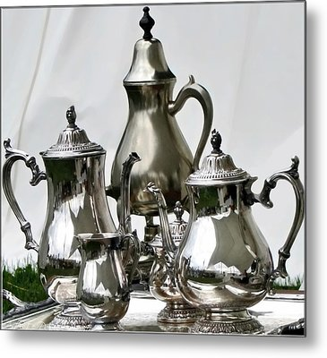 Superior Officers Silverware And Tea Service From  The Stoney Creek War Of  1812 Metal Print by Danielle  Parent