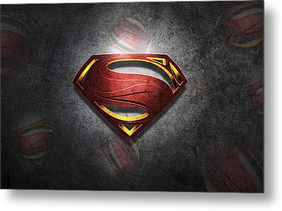 Superman Man Of Steel Digital Artwork Metal Print by Georgeta Blanaru
