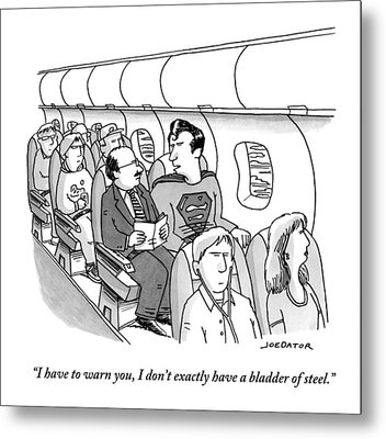 Superman Sits In A Plane Next To A Businessman Metal Print by Joe Dator