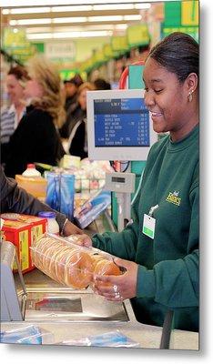 Supermarket Cashier Metal Print by Jim West