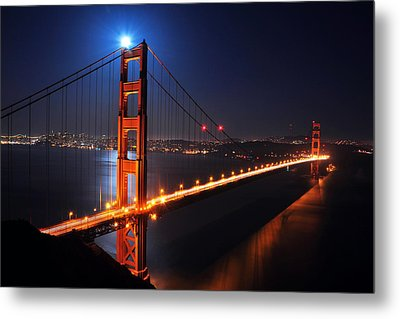 Supermoon Shining On Top Of The Golden Gate Bridge Metal Print