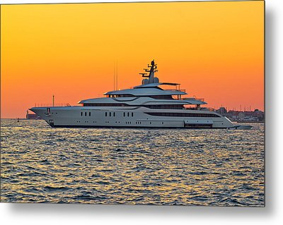 Superyacht On Yellow Sunset View Metal Print