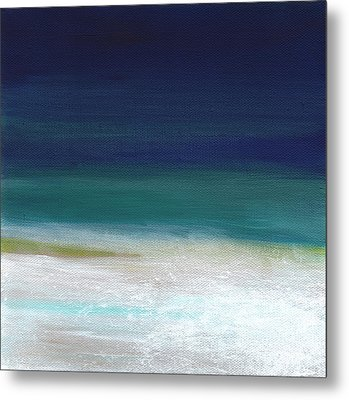 Surf And Sky- Abstract Beach Painting Metal Print by Linda Woods