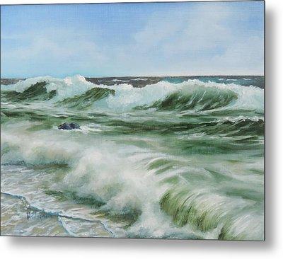 Surf At Castlerock Metal Print