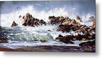 Metal Print featuring the painting Surf At Lincoln City by Craig T Burgwardt