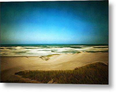 Surf Beach Lompoc California Digital Metal Print by Barbara Snyder
