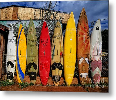 Surf Board Fence Maui Hawaii Metal Print by Edward Fielding