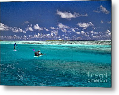 Surf Board Paddling In Moorea Metal Print by David Smith