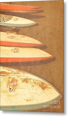 Surf Boards On Beach Metal Print by Birgit Tyrrell
