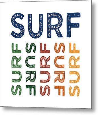Surf Cute Colorful Metal Print by Flo Karp
