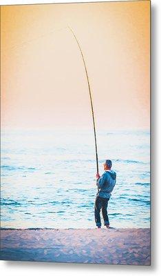 Surf Fishing - Digital Photo Art Metal Print