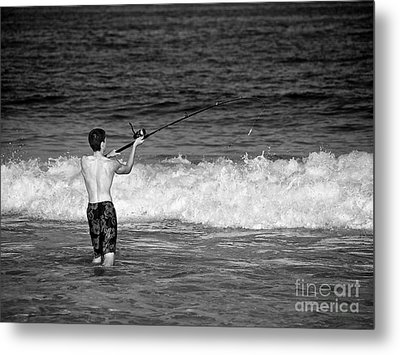Surf Fishing Metal Print by Mark Miller