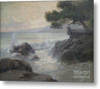 Surf On A Rocky Coast Metal Print by Celestial Images
