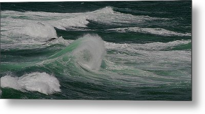 Surf On The Beach, Cape Kiwanda State Metal Print by Panoramic Images