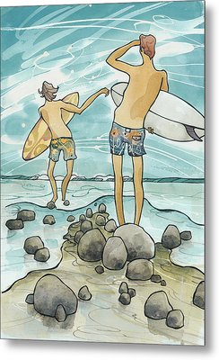 Surf Rocks Metal Print