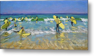 Surf School At St Ives Metal Print by Andrew Macara