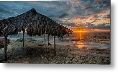 Surf Shack At Sunset - Wide Format Metal Print by Peter Tellone