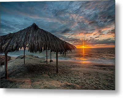 Surf Shack Sunset Metal Print by Peter Tellone