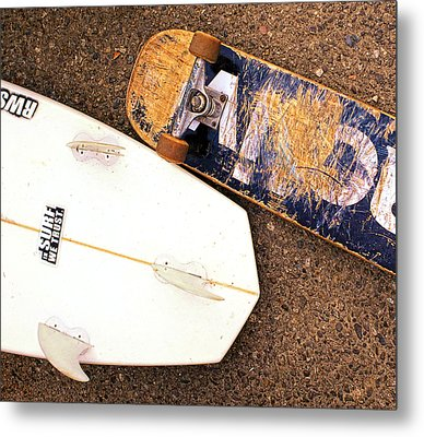 Surf Skate Fins And Wheels Metal Print by Ron Regalado