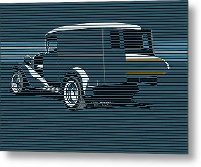 Surf Truck Ocean Blue Metal Print by MOTORVATE STUDIO Colin Tresadern