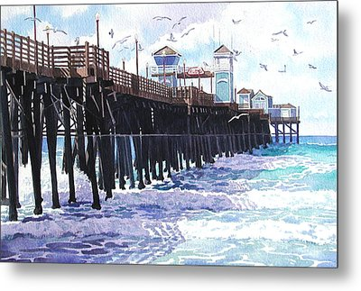Surf View Oceanside Pier California Metal Print by Mary Helmreich